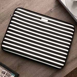 Kate space black and white striped laptop case